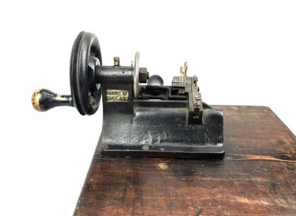 Antique Yale & Towne Cast Iron And Wood Key Cutter Machine / RARE Edwardian Tool